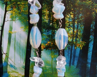 Morning Frost - Faux Moonstone Opalescent Earring Set