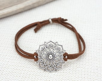 silver sterling bracelet the mandala silk on black mindful