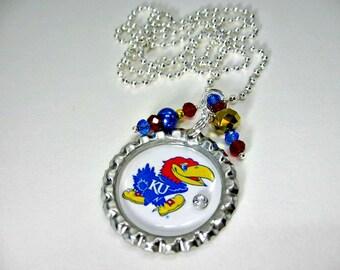 Kansas University Necklace, Kansas University Jewelry, KU Jewelry, KU Necklace, KU Accessories, Kansas Jayhawks, College Jewelry, Jayhawks