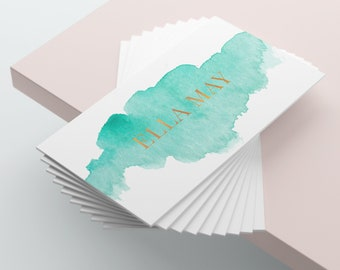 Watercolour Business Card, Green Business Card, Business Card Design, Business Card Template, Custom Business Card, Premade Business Card