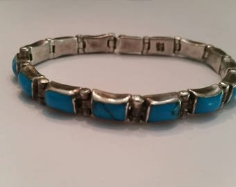 Mexican Sterling Silver Bracelet Turquoise Inlay 950 Mexico 28 grams