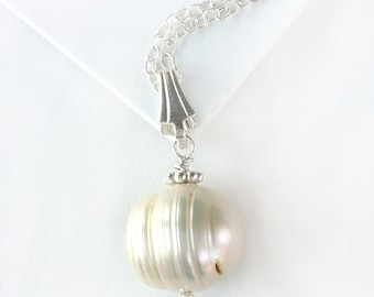 Baroque Pearl Solitaire Necklace - Sterling Silver