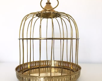 vintage solid brass decorative bird cage hanging or countre mount jungalow bohemian - Decorative Bird Cages