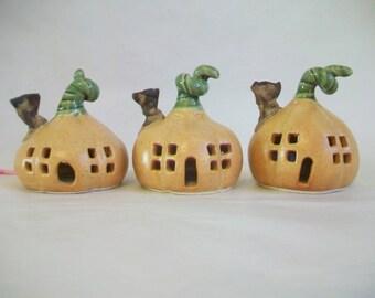 Tea-light Sized Pumpkin Fairy House / Night Light - Ready to Ship - 3 by 3 inch -  Handmade, Wheel Thrown - Includes Battery op.Tealight