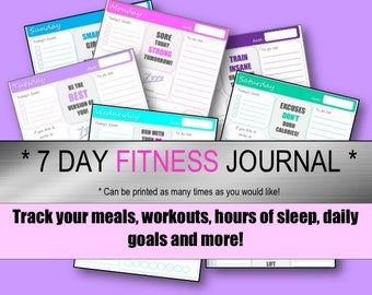 Printable Fitness Planner / Fitness Journal / Food Journal / INSTANT Download!!
