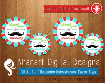 """Instant Download: """"Thank You for Combing"""" Mustache Babyshower Favor Tags (Red / Aqua)"""
