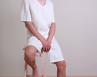 Linen White Pajama Set  Mens/ Shorts and Top Shortsleeve/ Summer Flax Men's pajama/  Pure Linen Pajama Set For Men/ Simple Nightwear For Men