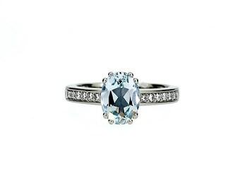 Aquamarine engagement ring, oval, diamond ring, oval aquamarine, solitaire, unique ring, blue engagement, vintage white gold, platinum