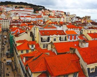 Lisbon Skyline, Portugal Photography, Lisbon Print, Fine Art Photography, Wall Art, Red Wall Decor, Cityscape, Europe - Rooftops of Lisbon