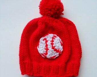Baby baseball hat - knitted baseball hat - baby hat for 6 months - baseball hat - baby baseball hat - pom pom hat