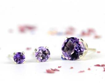 Amethyst stud earrings, one pair sterling silver and amethyst studs, 3mm, 4mm, 6mm, purple gemstone, February birthstone, birthday gift