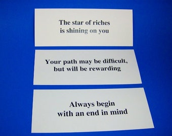 Fortune Cookie Wall Prints, Art Decor for Home or Office, Hanging Motivational Cards, Set of 20 Fortunes