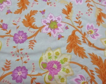 """Spring Promise by Ana Davis for blend Fabrics 113.101.01 Floral Modern Aqua Tangerine OOP Half Yard 18"""" Quilt Quilting Sewing Cotton Fabric"""