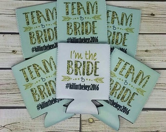 mint and gold glitter team bride bachelorette can coolers / bachelorette party can coolers / team bride / bachelorette party favors
