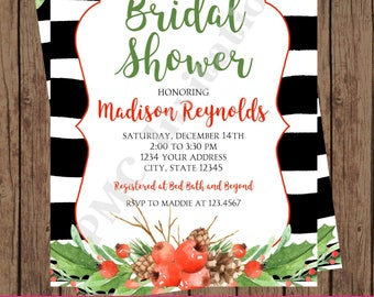 Custom Printed Watercolor, Holly, Holiday, Couples Shower, Christmas Bridal Shower Invitations - 1.00 each with envelope