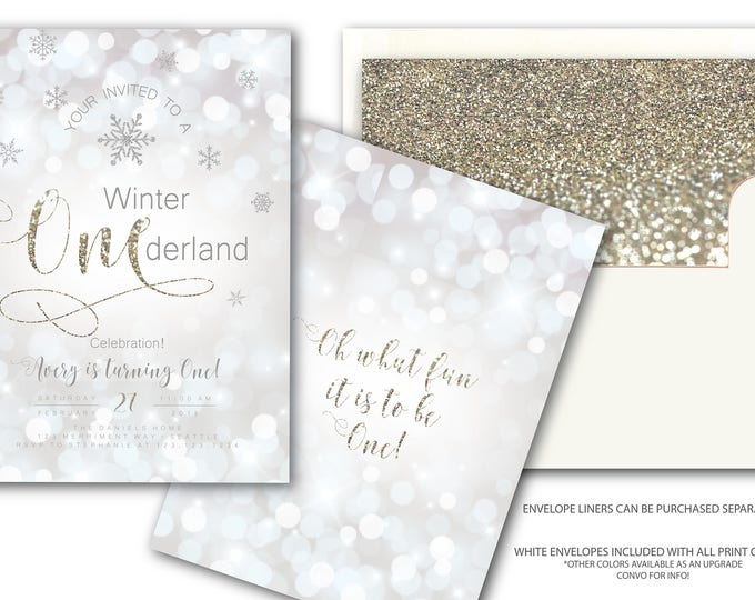 Winter Onederland Invitations First Birthday Glitter Sparkle Bokeh Invite Silver White Snowflakes Modern Elegant SEATTLE COLLECTION