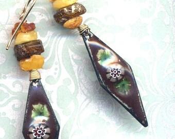 Rustic Enamel Earrings, Genuine Russian Amber Earrings, Baltic Amber Earrings, Long Boho Trendy Earrings, 18 K Gold Filled Earrings