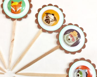 Awesome party animal Cupcake Toppers. Animal party decorations. Animals with glasses and hats on. Pug. Giraffe. Raccoon. Bear. Fox. Panda.