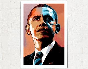 Barack Obama - US President - Art, Barack Obama poster, President Art, Barack Obama portrait, Barack Obama print, Americana Decor