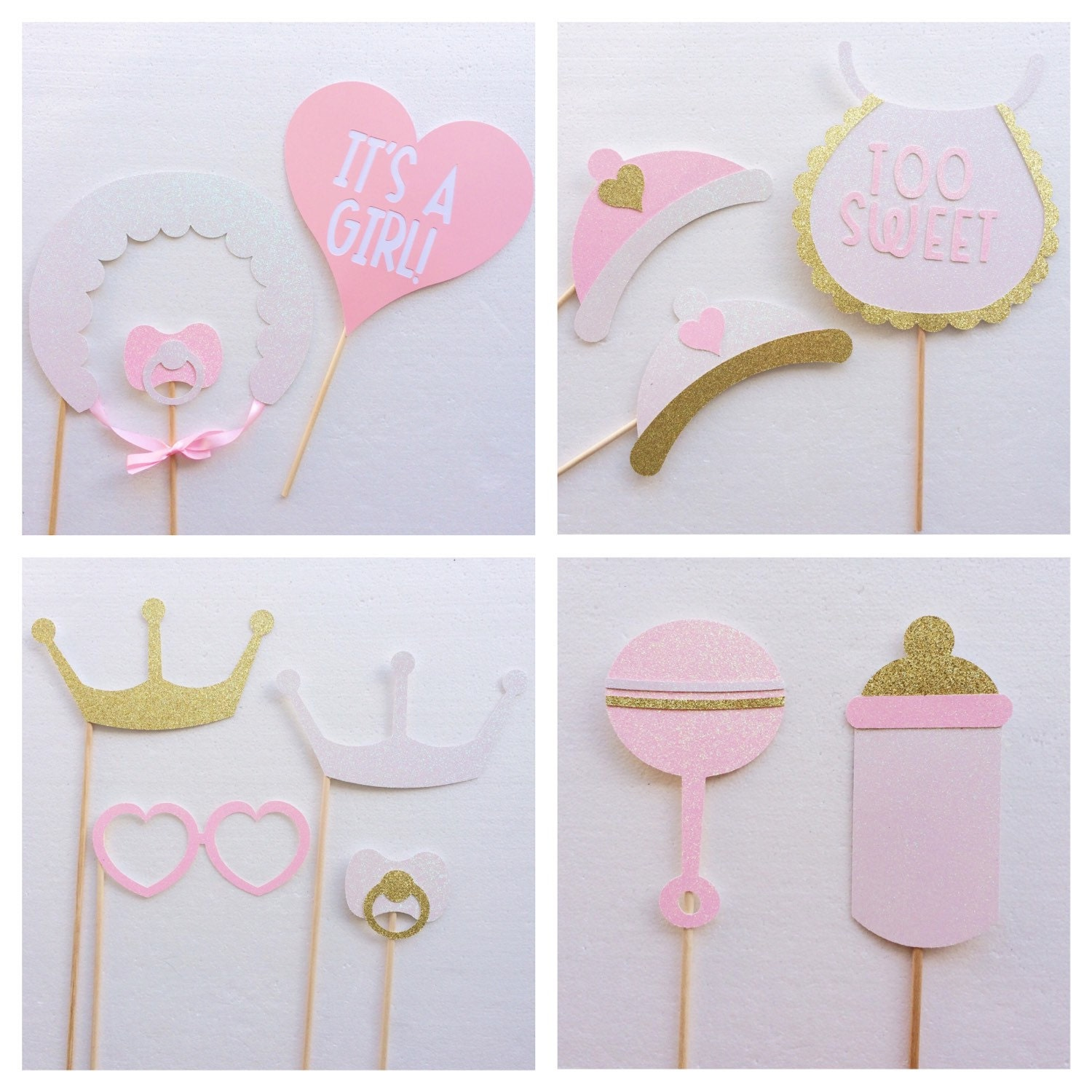 It s a Girl Baby Shower Booth Props Rattle Bib