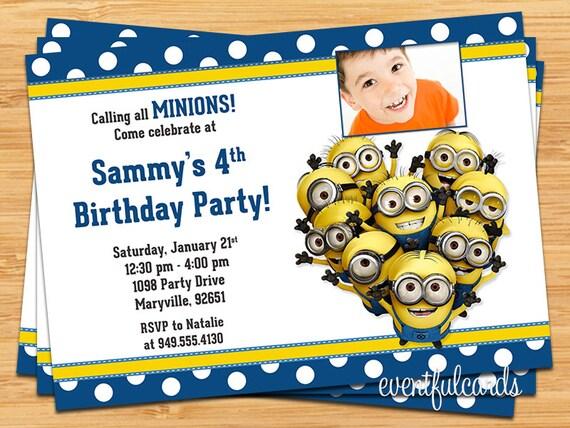 Minions kids birthday party invitation printable digital file filmwisefo