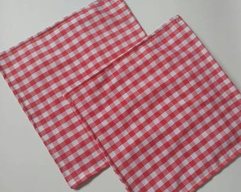 ON SALE, 2pk picnic napkins, cloth napkins, reusable napkins, cotton napkins, large, 10x10, red, white, ready to ship