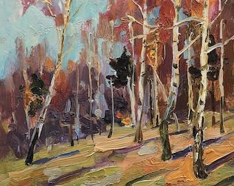 MID CENTURY ART Original Oil Painting by M.Borymchuk 1950's Autumn Landscape, Birch trees, Fall Woodland scenery, Impressionist antique art