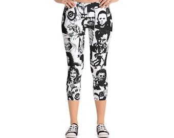 Horror film Capri Leggings, Scary Movie Leggings, Gift Leggings, Trendy Leggings,