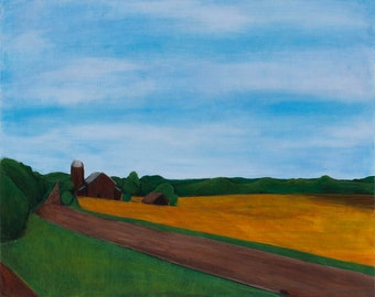 Reunion : original framed landscape painting of farm, 24 x 30 inch, American landscape, Wisconsin landscape