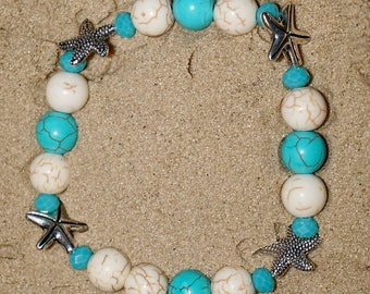 Starfish Beaded Bracelet with beautiful beach themed color beads