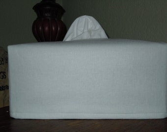 Custom Made Tissue Box Cover with NO  Monogram -  LARGE LONG White Essex Linen Tissue Cover