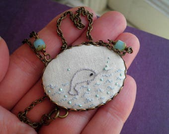 Narwhal Necklace - Embroidered Narwhal & Ocean Waves Pendant - Unicorn Whale Sea Creature Embroidery - Embroidered Necklace Gift For Her