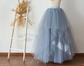 Dusty Gray Maxi Long Women Tulle Skirt/TUTU Tulle Skirt/Wedding Bridal Bridesmaid Skirt/Wedding Dress Underskirt Petticoat