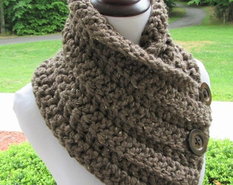 Boston Harbor Scarf, Chunky Cowl, Crochet Scarf, Chunky Neck Warmer, Wool Blend, Button Cowl, Winter Accessory, Women's Gift, Handmade Cowl