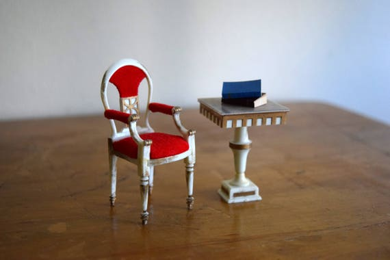 Vintage Petite Princess Dollhouse Chair & Table - Miniatures, Fairy House, Mid Century
