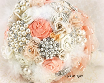 Brooch Bouquet, Peach, Coral, Blush, Cream, Ivory, Wedding Bouquet, Bridal, Jeweled, Feathers, Crystals, Pearls, Lace, Vintage Style, Gatsby