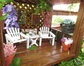Miniature Fairy Garden Gazebo with Adirondack chairs fairy decor accesories house