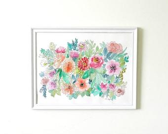 Large Watercolor Flowers Painting, 18x24,original watercolor painting, statement piece, floral painting, floral artwork, wall art, flowers