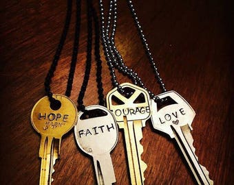 Key necklace.  Mantra.  Hand stamped necklace.  Personalized.  Monogrammed.  Hand stamped Jewelry.