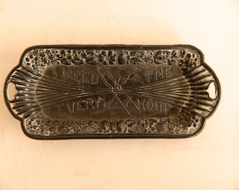 Vintage Metal Hairpin Tray - I Need Thee Every Hour