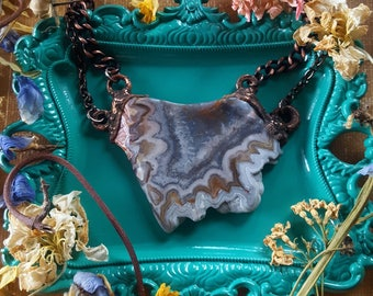 Crazy Lace Agate Necklace - Multi Chain Agate Necklace - White Grey Brown Crazy Lace Agate Necklace - Earth Tone Agate Necklace - Jyndronea