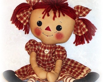 Rag Doll PATTERN, PDF PATTERN, Cloth Doll, Ragdoll, Raggedy Ann, Sewing,, Instant Download, Digital Download