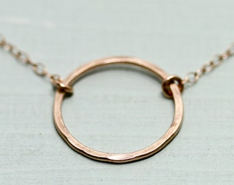 Rose gold necklace - rose gold circle necklace - rose gold jewelry - karma necklace - minimalist necklace - dainty jewelry - gift for her