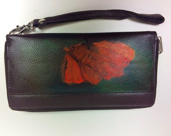 Hand-painted dark brown wallet with poppy