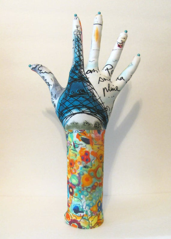 TALL Eiffel Tower Chagall Dove HAND-Stand ~ Jewelry Display ~ Ready to Ship