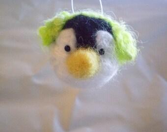 CHRISTMAS ORNAMENT Needlefelted Penguin head