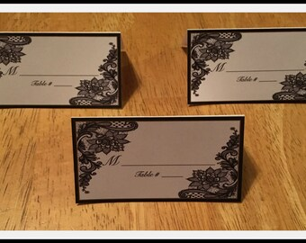 Black and White Lace Printed Place Cards