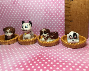 BASKET Pups - Dog Dogs Puppies Hounds in a woven basket 2 pcs pick Favorite -  French Porcelain Feve Feves Mini Figurine Miniature U99