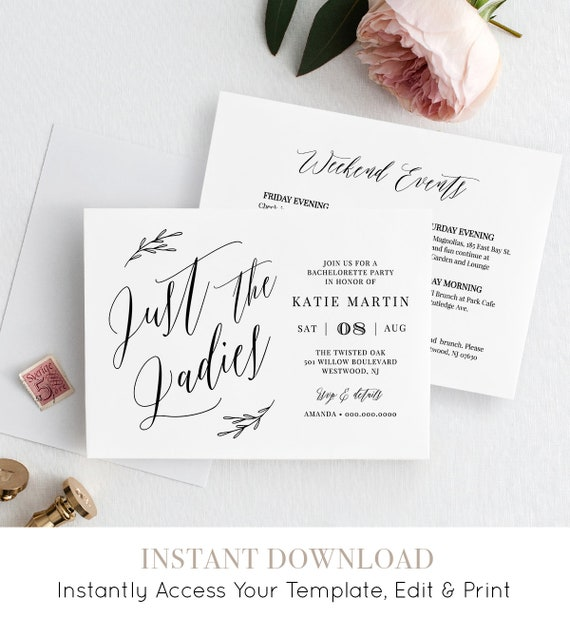 Bachelorette Party Invitation & Itinerary, Instant Download, Printable Invite, 100% Editable Template, Modern Calligraphy #038-112BP