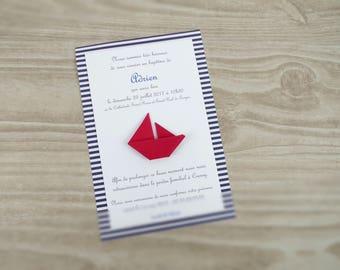 Faire part de baptême ou naissance voilier bateau en origami - bleu rouge pour garçon ou fille fait main nautique